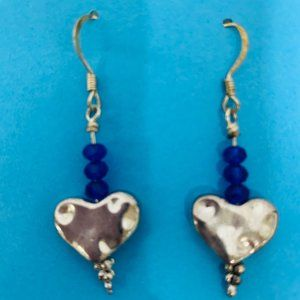 Vintage  Silver Heart w Blue Bead Pierced Earrings